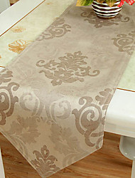Imitation Leather Floral Light Coffee Table Runner