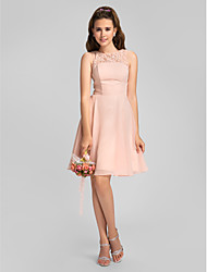 Lanting Bride® Knee-length Chiffon Mini Me Bridesmaid Dress - A-line Jewel Plus Size / Petite with Beading / Lace