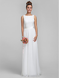 Floor-length Chiffon / Lace Bridesmaid Dress - Plus Size / Petite Sheath/Column Bateau