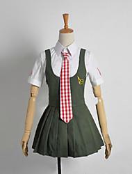 Inspirado por Dangan Ronpa Mahiru Koizumi Vídeo Jogo Cosplay Costumes Ternos de Cosplay / Uniformes Escolares Xadrez Preto Manga Curta