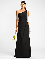 Lanting Dress - Black Plus Sizes / Petite Sheath/Column One Shoulder Floor-length Chiffon
