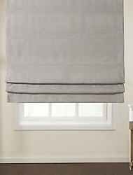 Modern Light Grey Solid Roman Shade
