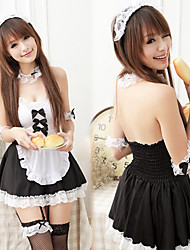 Cute and Sexy Girl Black and White Polyester Maid Uniform with Ribbon