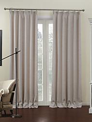 (Dois painéis) de poupança de energia sólida bege moderno alinhado cortina