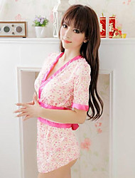 Kimono-style Pink Lace Sexy Maid Lingerie