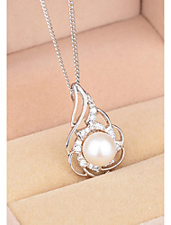 BAFANA Women's Floral Diamante Pearl Pendant Necklace