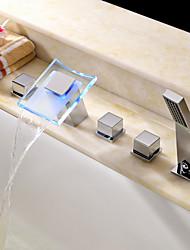 Zeitgenössisch Romanische Wanne LED / Wasserfall / Handdusche inklusive with  Keramisches Ventil Zwei Griffe Fünf Löcher for  Chrom ,