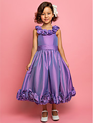 A-line Princess Tea-length Flower Girl Dress - Taffeta Scoop Spaghetti Straps with Flower(s) Sash / Ribbon
