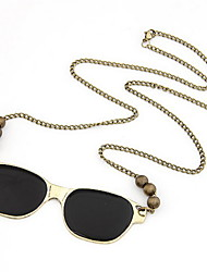 Fashion Alloy With Beads Glasses Shaped Pendant Women's Necklace