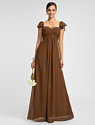 Lanting Bride® Floor-length Chiffon Bridesmaid Dress - Sheath / Column Sweetheart / Spaghetti Straps Plus Size / Petite withRuffles /