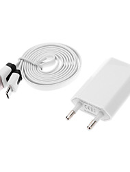USB Male to Micro USB Male Data Charging Cable + EU Plug Adapter for Samsung Mobile Phone