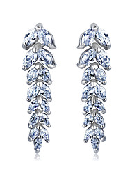 S&V Women's Classic Hand Made Zircon Long Crystal Stud Earrings