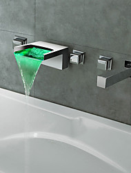 Thermochromic Chrome Finish LED Waterfall Bathroom Tub Faucet