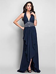 Formal Evening/Military Ball Dress - Dark Navy Plus Sizes Sheath/Column Halter/V-neck Asymmetrical Chiffon