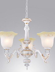 Style américain rustique 3 Up Chandelier Light In Floriform Shade