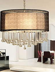 Contemporary Crystal 4 Light Pendant With Black Shade