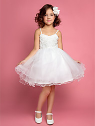 A-line / Ball Gown / Princess Knee-length Flower Girl Dress - Chiffon / Lace / Satin / Tulle Sleeveless Straps with Flower(s)