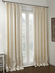 (Two Panels) Stretching Branches Jacquard Lined Blackout Curtain