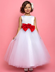 A-line Princess Ankle-length Flower Girl Dress - Satin Tulle Jewel with Bow(s) Flower(s) Sash / Ribbon