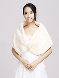Soft Faux Fur Wedding/Special Occasion Shawl with Imitation Pearl(More Colors)