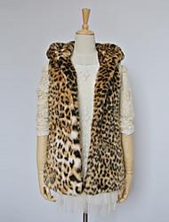 chaleco de piel gruesa con cuello vuelto manga larga en partido de piel sintética / chaleco ocasional