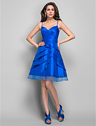 TS Couture® Cocktail Dress - Short Plus Size / Petite A-line Spaghetti Straps Knee-length Taffeta with Flower(s) / Ruffles