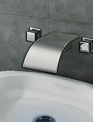 Contemporary Chrome Finish Designer Curve Spout Waterfall Bathroom Sink Faucet