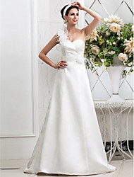 Lanting Bride® A-line Petite / Plus Sizes Wedding Dress - Chic & Modern / Glamorous & Dramatic Sweep / Brush Train One Shoulder Satin with