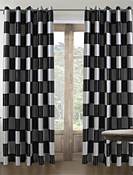 (Two Panels) Mordern Check Jacquard Room Darkening Curtain