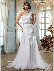 Lan Ting Trumpet/Mermaid Plus Sizes Wedding Dress - White Sweep/Brush Train One Shoulder Tulle