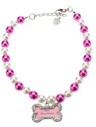 Perlas preciosas, con hueso en forma de marco de la foto del collar para mascotas perros (diferentes tamaños)