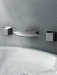 Bathroom Sink Faucets Contemporary LED / Waterfall Chrome