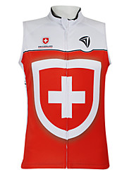 Kooplus2013 Championship Jersey Switzerland 100% Polyester Wicking Fibers Sleeveless Cycling Vest with Reflective Tape