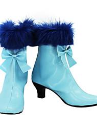 Schwarz Carnival Sky Blue PU Leder Pfennigabsatz Damen Stiefel
