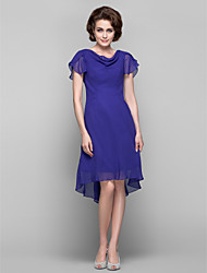 Dress Sheath / Column Cowl Knee-length / Asymmetrical Chiffon with Crystal Brooch / Side Draping