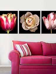 """12 """"-24"""" fiore rosa orologio da parete in 3pcs su tela"""