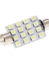 16 LED SMD Auto White Light Lighting System Lampe 41mm 2Stk
