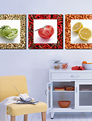 Stretched Canvas Art Food Tomato and Limon Set of 3