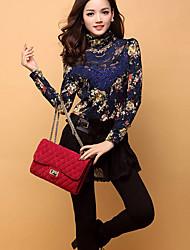 Damen High Neck Floral Print dünnes Hemd
