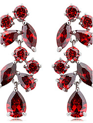 S&V Women's Pomegranate Flowers Hand Made Zircon Crystal Stud Earrings