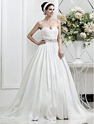 Lan Ting A-line/Princess Plus Sizes Wedding Dress - Ivory Court Train Sweetheart Taffeta