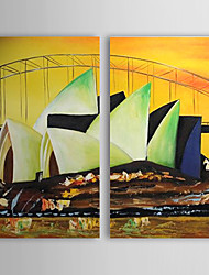Hand Painted Oil Painting Landscape Opera House with Stretched Frame Set of 2 1308-LS0750