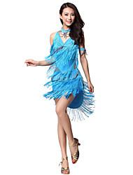Desempenho dancewear poliéster com borlas / Rhinestone Dança Latina Roupas para senhoras (mais cores)
