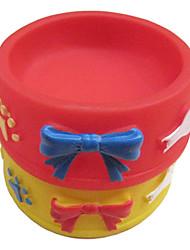 Rotondo Dog Bowl gomma Squeaking giocattolo con Paws bowknot pattern per Animali Cani (colori assortiti)