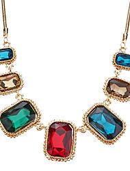 Color Restoring Ancient Ways Gem Stones Glass Short Necklace