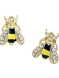 Ear Piercing Stud Earrings Rhinestone Gold Plated Enamel Simulated Diamond Alloy Cute Style Fashion Animal Shape Yellow Jewelry2pcs 1