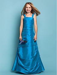 Floor-length Taffeta Junior Bridesmaid Dress A-line / Princess Straps Dropped with Side Draping