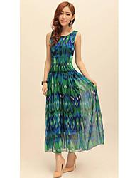Women's Beach Swing Dress,Print Round Neck Maxi All Seasons
