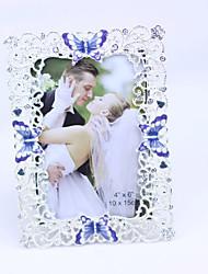 Elegent Argento Photo Frame con farfalla viola