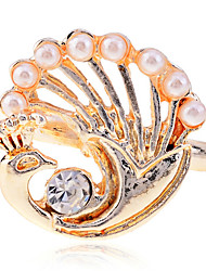 Lureme Alloy Pearl Gold Adjustable Ring